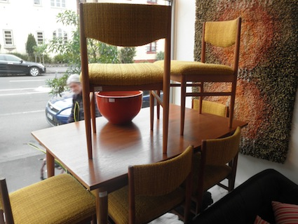 Six Parker Teak Dining Chairs Red Rider