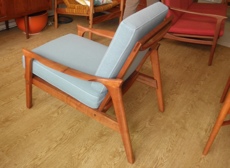 Danish Deluxe Rare Mertyl Low Back Armchairs Red Rider