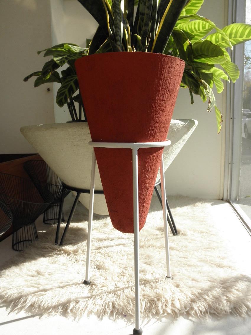 Mid Century Concrete Cone Planters Red Rider